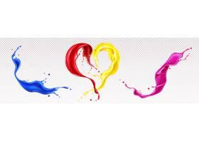 液体油漆的飞溅与漩涡和心形隔离_13009302