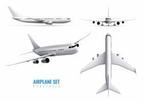 民用飞机真实感标识集白色飞机俯视与前视隔_7286415