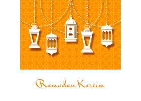 斋月卡里姆的阿拉伯灯笼背景_10601534