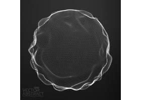 暗色背景下的抽象矢量单色网格球体未来主_11173087