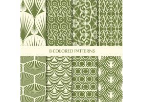 抽象极简主义复古无缝图案集不同绿色几何形_11243071