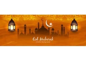 抽象开斋节伊斯兰装饰横幅设计_4458574