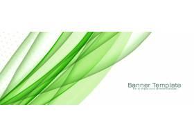 抽象时尚的绿色波浪横幅_12313147