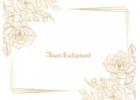 手绘金色素描花卉图案_9827672