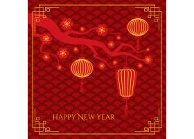 抽象中国新年背景传统波浪图案树枝上的中_11898478