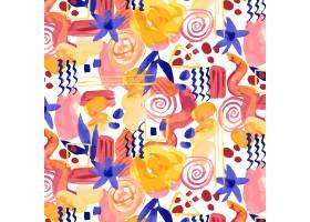 形态各异的抽象水彩画无缝图案_12267016