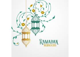 带有装饰灯和伊斯兰花卉装饰的Ramdan Karee_4480884