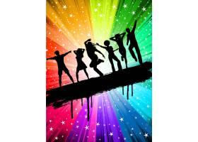 在繁星点点的多彩背景上跳舞的人们的剪影_1090961