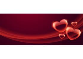 印有美丽泡沫心形的情人节横幅_12158474