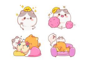 可爱猫一套搞笑人物卡通插图_12566246