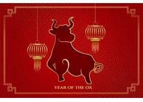 中国牛年红底灯笼_12158374