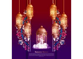 伊斯兰斋月祝福卡里姆卡上有金色灯笼设计_12955282