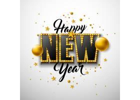 2020年新年快乐插图用3D字体刻字白色背景_6000898
