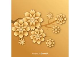 3D样式的金色花朵背景_5183151