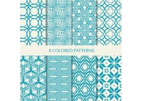 一套八款蓝白相间的无缝人字形图案集合了_11243078