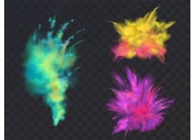 一组逼真的彩色粉云或爆炸隔离在透明背景_3685328