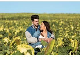 美丽的年轻情侣站在向日葵的田野上_1623491