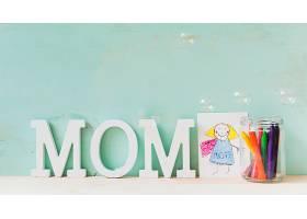 母亲节概念与儿童绘画_2028009