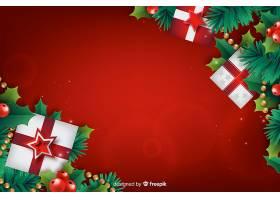 配有礼品盒的逼真圣诞背景_5469836