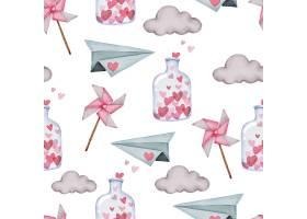 瓦伦丁无缝图案与纸飞机云和瓶子_13555452