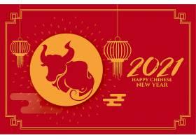 用灯笼祝中国农历新年牛年快乐_12158379