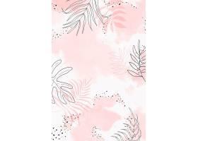 粉色叶状水彩背景_13312266