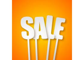 橙色纸质字母标语牌的促销版式销售设计概念_13437716