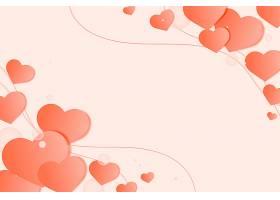 浅橙色背景上装饰边框上的心形_12458495