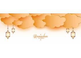 斋月卡里姆伊斯兰灯笼和云彩横幅_13442026