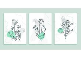 抽象最小花叶装饰背景海报套装_12970366