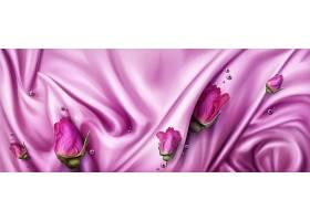 抽象的背景粉红色的丝绸和玫瑰色的花蕾_13149350