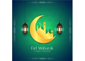 抽象开斋节穆巴拉克优雅的伊斯兰绿色背景_8199177