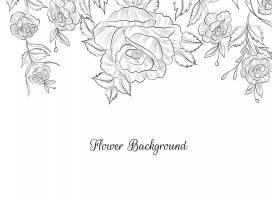 平面设计手绘花卉素描背景矢量_12587245