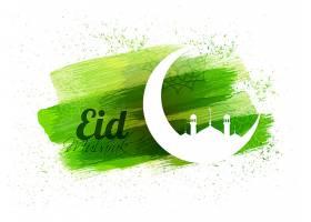 开斋节的背景是白色的新月和抽象的绿色笔触_1149570