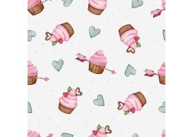 心形箭头和纸杯蛋糕的瓦伦丁无缝图案_13555407
