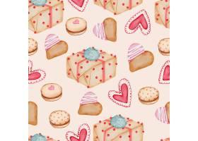 情人节天衣无缝的图案与心礼物纸杯蛋糕_13555420