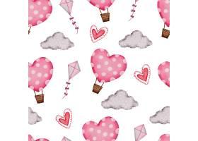 情人节无缝图案与气球云和心_13555450