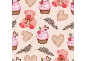 情人节无缝图案与泰迪杯蛋糕树叶等_13555421