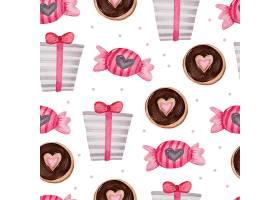 情人节礼物巧克力蛋糕的无缝图案_13555468