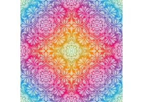 五颜六色的背景配以鲜花和树叶的图画_956852