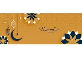 伊斯兰风格的斋月卡里姆和开斋节装饰横幅_13442011
