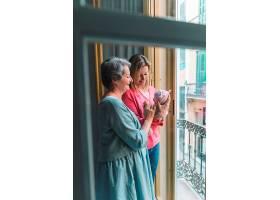 母亲和祖母带着婴儿站在窗户前_2043054