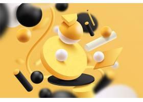黄黑相间的未来主义3D背景_7074482