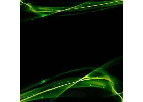 黑色背景上的亮绿色波浪线_1021306