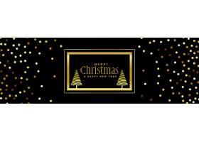 黑色背景上闪闪发光的金色圣诞横幅_3591062