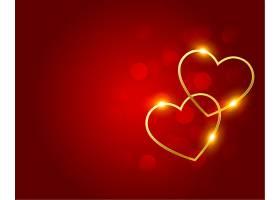 红色波克背景上可爱的金色心形_12158414