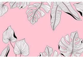 线形热带树叶以柔和的颜色为背景_7967037