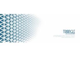 蓝色三角形半色调图案设计的白色横幅_8152332