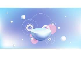 蓝色上带有3D几何形状的抽象讲台_12407795