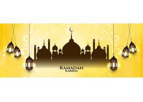 艺术黄色斋月卡里姆伊斯兰节日横幅_13441094